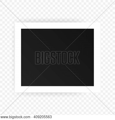Photo Frames Icon. Realistic Square Black Frames Mockup, Vector. Template For Picture, Painting, Pos