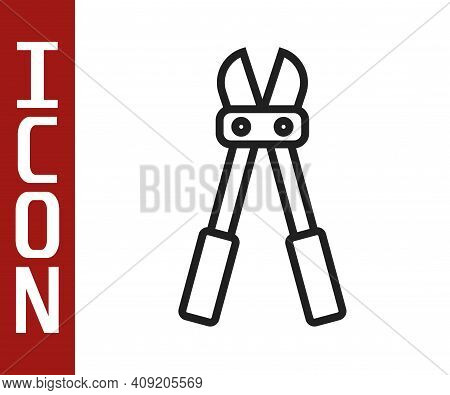 Black Line Bolt Cutter Icon Isolated On White Background. Scissors For Reinforcement Bars Tool. Vect
