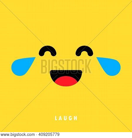 Laugh Emoticons Banner. Laughing Face. Social Media Reaction Concept. Vector Eps 10. Isolated On Bac