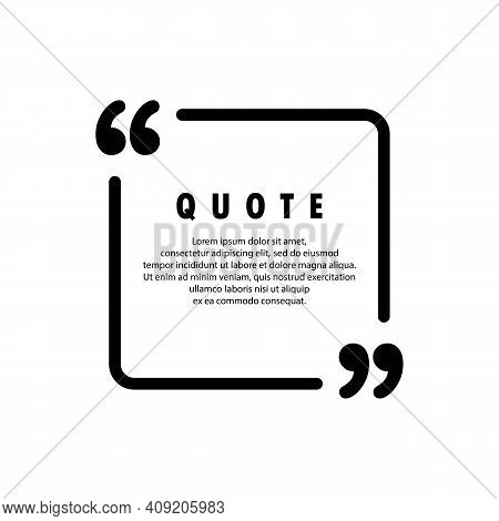Quote Icon. Square Shape. Quotemark Outline, Speech Marks, Inverted Commas Or Talking Mark Collectio
