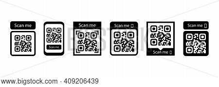 Scan Me Icon Set. Qr Code For Payment. Vector Eps 10. Isolated On White Background.