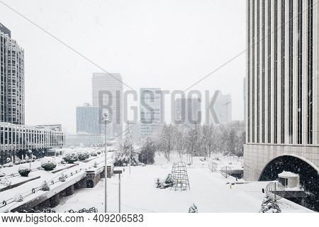 Madrid - January 9, 2021: Wide-angle View Of Azca Business And Financial District In Madrid, Spain.