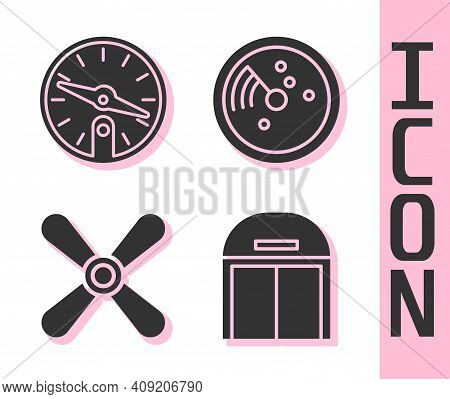 Set Aircraft Hangar, Compass, Plane Propeller And Radar With Targets On Monitor Icon. Vector