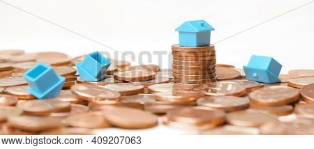 Falling Real Estate Collapsed House Property Risk Investment Crash Home. Success Real Estate Competi
