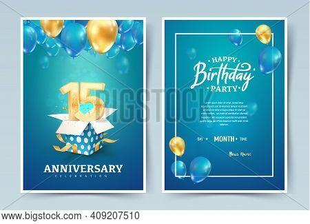 15th Years Birthday Vector Invitation Double Card. Fifteen Years Anniversary Celebration Brochure. T