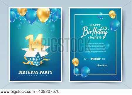 14th Years Birthday Vector Invitation Double Card. Fourteen Years Anniversary Celebration Brochure.