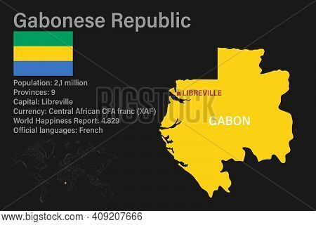 Highly Detailed Gabon Map With Flag, Capital And Small Map Of The World