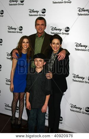 LOS ANGELES - JAN 10:  Eden Sher, Neil Flynn, Patricia Heaton, Atticus Shaffer attends the ABC TCA Winter 2013 Party at Langham Huntington Hotel on January 10, 2013 in Pasadena, CA