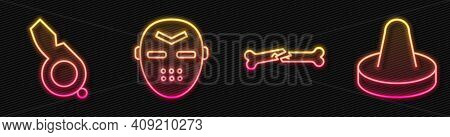 Set Line Human Broken Bone, Whistle, Hockey Mask And Mallet For Playing Air Hockey. Glowing Neon Ico