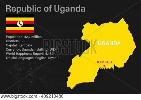 Highly Detailed Uganda Map With Flag, Capital And Small Map Of The World