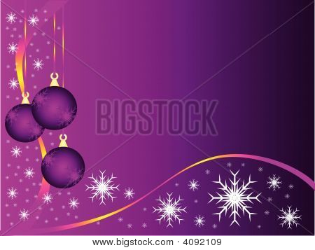 Purple Christmas Baubles Vector Background