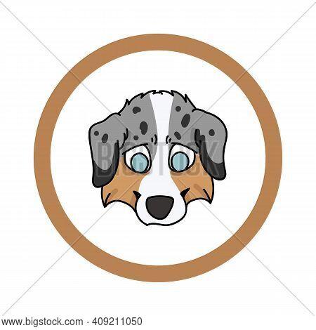 Cute Cartoon Australian Shepherd Face In Circle Puppy Vector Clipart. Pedigree Kennel Doggie Breed F