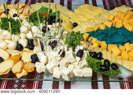 Snacks At The Wedding, Cheese, Sausage, Vegetables, Meat Products, Cossack Table At The Ukrainian We