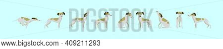 Set Of Whippet Dogs Cartoon Icon Design Template With Various Models. Modern Vector Illustration Iso