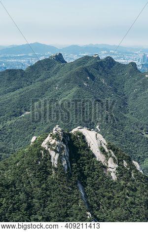 Mountain Top In Bukhansan National Park, Seoul, South Korea.
