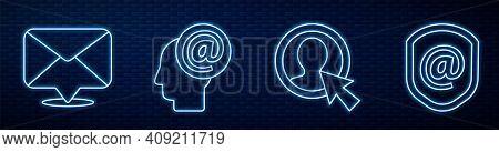 Set Line Create Account Screen, Envelope, Mail And E-mail And Shield With Mail And E-mail. Glowing N