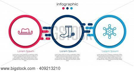 Set Line Western Cowboy Hat, Cowboy Boot And Hexagram Sheriff. Business Infographic Template. Vector