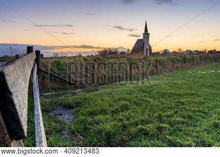 Picturesque Church Den Hoorn In Rural Areas Of The Wadden Islands Texel In North Holland, The Nether