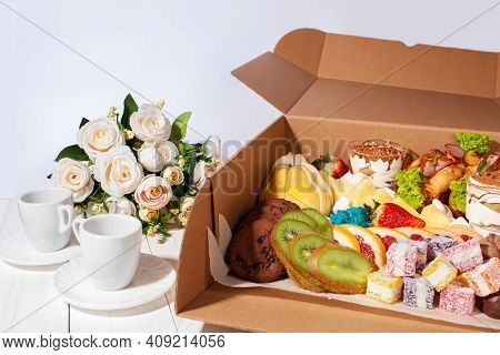 Gastronomic Box, Food, Sweets And Fruits, Flowers For A Gift On March 8, February 14, Birthday. Home