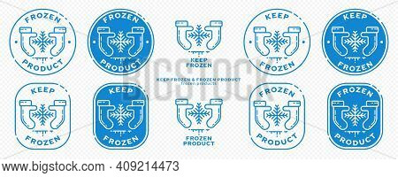 Concept For Product Packaging. Marking - Keep Frozen And Frozen Product. The Icon Of Hands In Mitten