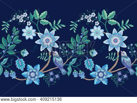 Seamless Pattern With Stylized Ornamental Flowers In Retro, Vintage Style. Jacobin Embroidery. Color