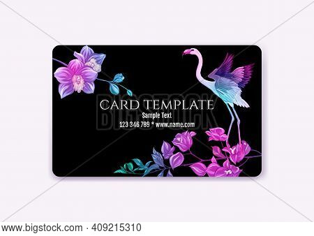 Plastic Debit Or Credit, Pass, Discount, Membership Card Template With Tropical Plants And Birds In