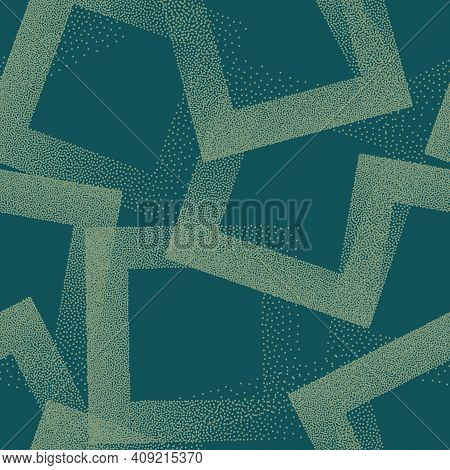 Trendy Seamless Pattern Stippled Squares Texture Vector Turquoise Abstract Background. Hand Drawn Ti