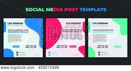 Social Media Post Template. Set Of Social Media With Color Choice Design. Vector Illustration Of Web