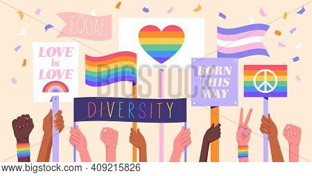 Diverse Multiracial People Holding Placards With Lgbtqi Rainbow Flags. At A Rally Or Gay Pride In Ho