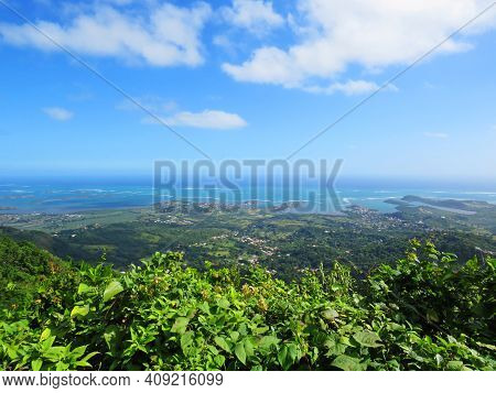 Panoramic Of The Caribbean Coast Of The French Antilles. Exotic Landscape Of Tropical Vegetation, Ca
