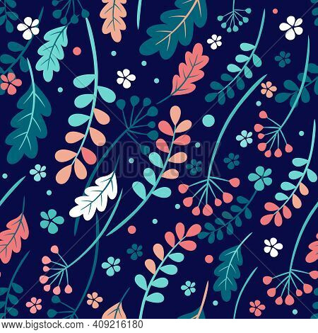 Seamless Autumn Leaves Pattern. Vector Rowan, Cranberry And Viburnum Berries, The Oak Leaves, Shephe