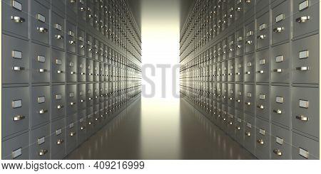 Archive File Cabinets Storage Room. Metal Drawers Corridor. 3D Illustration