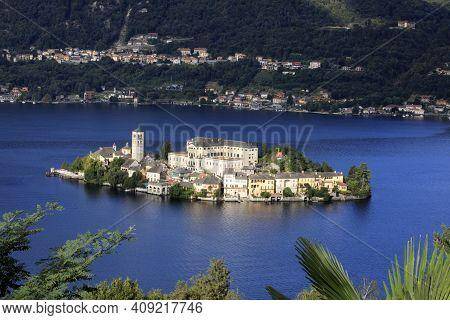 Orta San Giulio (no), Italy - September 02, 2019: Landscape Of San Giulio Island On Lake Orta, Novar