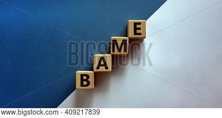 Bame Symbol. Abbreviation Bame, Black, Asian And Minority Ethnic On Wooden Cubes. Beautiful White An