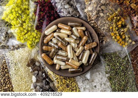 Packaged Herbal And Mineral Ingredients And Components For Organic Dietary Supplements