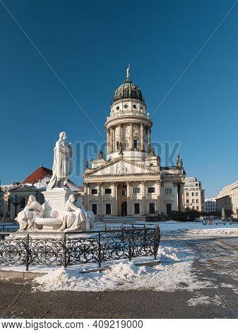 Gendarmenmarkt Square In Berlin With French Cathedral Or Franzusischer Dom In German Language. Schil