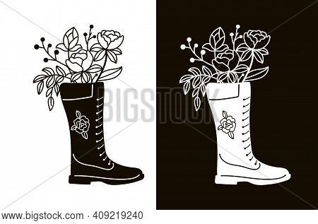 A Bouquet Of Twigs And Flowers In A Boot. Stencil For Cutting, Burning Or Foiling