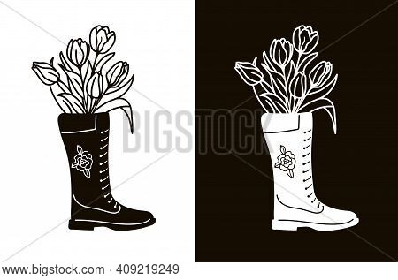 Stencil For Cutting, Burning Or Foiling. Bouquet Of Tulips In A Boot