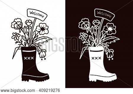 A Bouquet Of Flowers And A Welcome Sign In A Rubber Boot. Stencil For Cutting, Burning, Painting, Et
