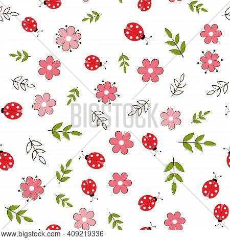 Summer Seamless Pattern With Flowers And Ladybirds For Fabrics And Packaging.