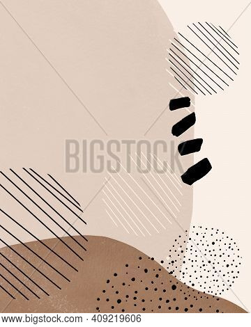 Aesthetic Modern Background. Collage With Black Shapes. Aesthetic Pattern In Mid Century Modern Styl