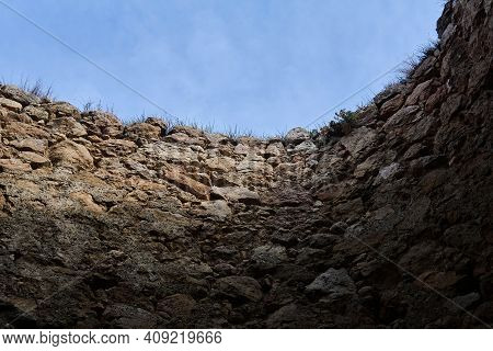 Sky View From A Dungeon With Stone Walls