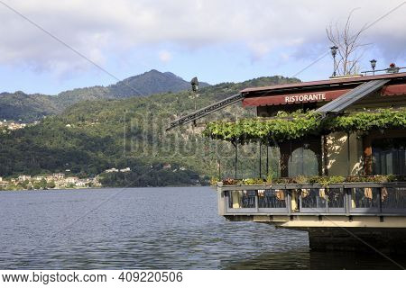 Orta San Giulio (no), Italy - September 02, 2019: Typical Restaurant In Orta, Orta, Novara, Piedmont