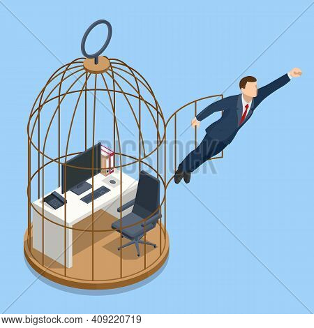Isometric Break Free, And Life Change Concept. Businessman In Birdcage Kicking His Way To Freedom.