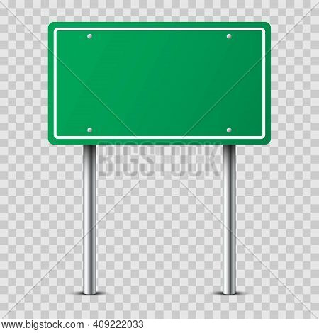 Realistic Green Traffic Sign On Metal Pole Isolated On Transparent Background. Rectangular Blank Tra