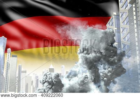 Large Smoke Column In The Modern City - Concept Of Industrial Explosion Or Terroristic Act On German