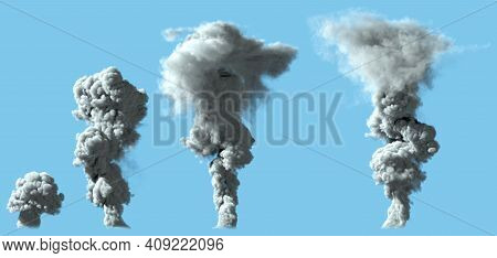4 Images Of Solid White Smoke Column As From Volcano Or Large Industrial Explosion - Disaster Concep