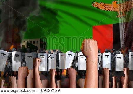 Revolt Fighting Concept - Protest In Zambia On Flag Background, Police Guards Stand Against The Demo