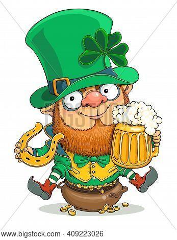 Vector Cartoon. St. Patrick's Day Card. Cute Leprechaun With A Beer Mug, Coins, Trefoil And A Horses