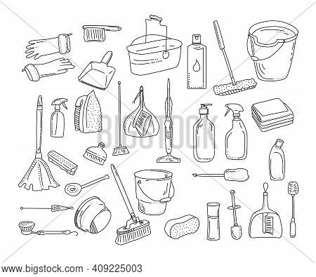 Cleaning Tools Collection.washing Equipment For Floor,windows And Dust Removing.vector Doodle Style